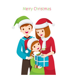 Parent giving daughter gift for christmas vector