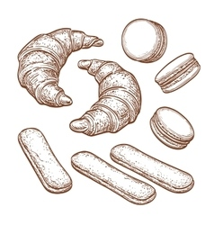 Pastry sweets collection vector