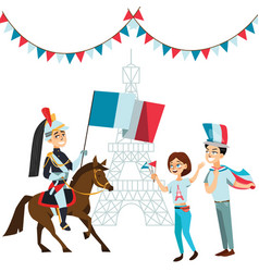 people with flags in hands welcome on parade vector image
