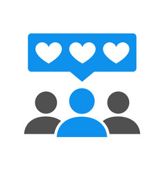 People with hearts colored icon client vector