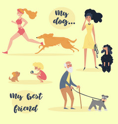 people with pets set of different dog owners vector image