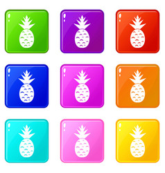 Pineapple icons 9 set vector