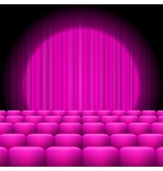 Pink Curtains with Spotlight and Seats vector image