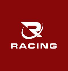 Racing initial logo r simple minimalist logo vector