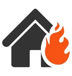 Realty Fire Damage Flat Icon vector image