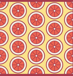 red orange grapefruit slice seamless pattern vector image