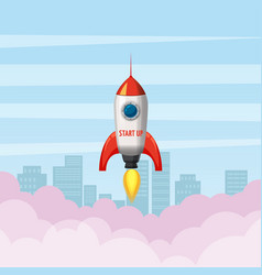 rocket launch ship start up sity vector image