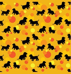 Seamless pattern with black dogs silhouettes puppy vector