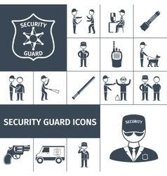Security guard black icons set vector