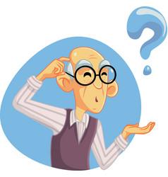 Senior man thinking having many questions vector