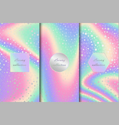 set of bright holographic backgrounds vector image