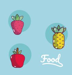 Set of food cartoons vector