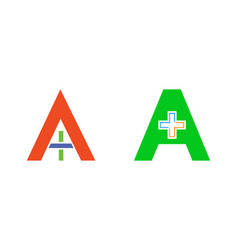 set of initial letter a medical logo icon design vector image