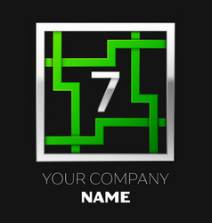 silver number seven logo symbol in the square maze vector image