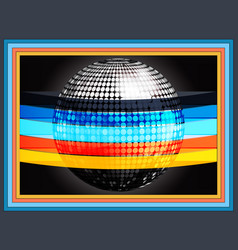 silverd disco ball wrapped in multicoloured vector image