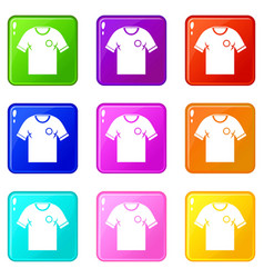 Soccer shirt icons 9 set vector
