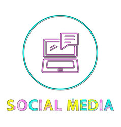 social media round linear icon with open laptop vector image