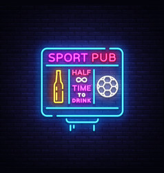 sports bar logo neon sports pub neon sign vector image