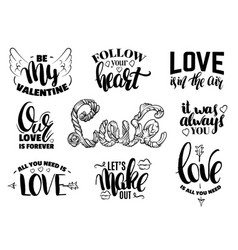 st valentines day set quotes with hand written vector image