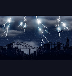 Storm and lighting over city vector