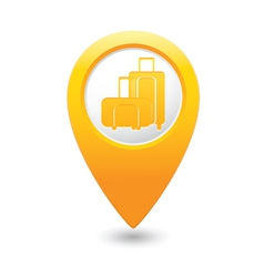 suitcases icon yellow map pointer vector image