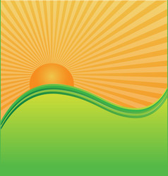 sun and waves background vector image
