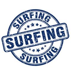 surfing blue grunge round vintage rubber stamp vector image