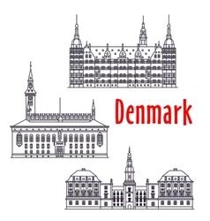 Symbolic travel sights of Denmark thin line icon vector