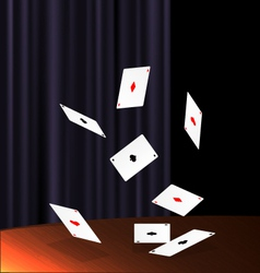 Table and flying cards vector