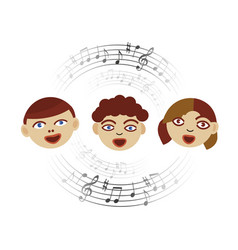 three singing children with musical notes vector image