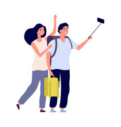 tourist selfie young couple with backpacks vector image