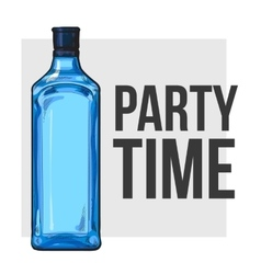 Traditional blue gin glass bottle poster design vector