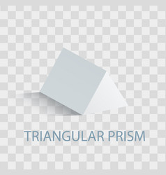 Triangular prism geometric figure in white color vector