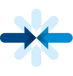 Two blue arrows in front each other geometric vector