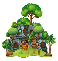 two cavemen at home vector image