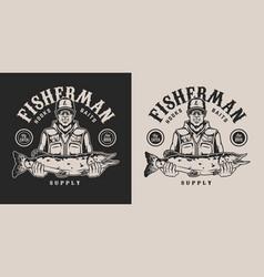 Vintage monochrome fishing emblem vector