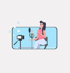Woman blogger recording music video vlog using vector