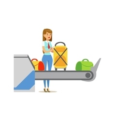 Woman Checking Scanned Luggage On Security Checkup vector