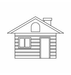 Wooden log house icon outline style vector image