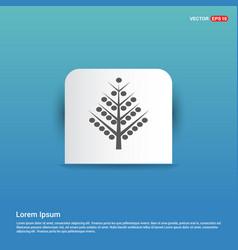 x-mas tree icon - blue sticker button vector image
