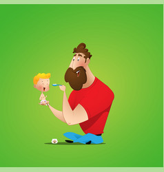 young father and his daughter having breakfast vector image
