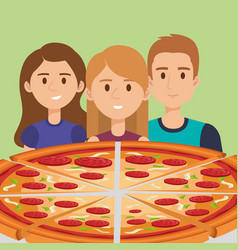 young people with italian pizza vector image