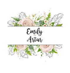 floral card art wedding watercolor invitation vector image vector image