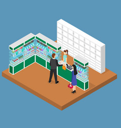 pharmacy shop interior isometric view vector image
