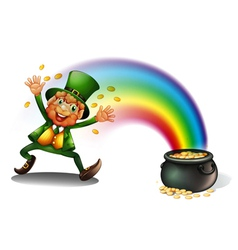 A man with a pot of golds vector image vector image