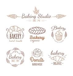 Bakery logo elements vector image vector image