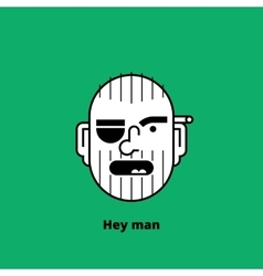 Character design unshaven angry man avatar vector image vector image