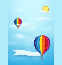 colorful hot air balloons flying with sun on blue vector image