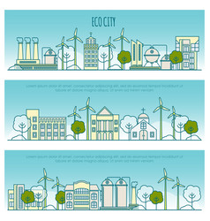 ecology city banners template with thin vector image vector image