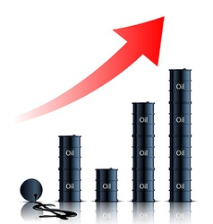 graph consisting of barrels of oil vector image vector image